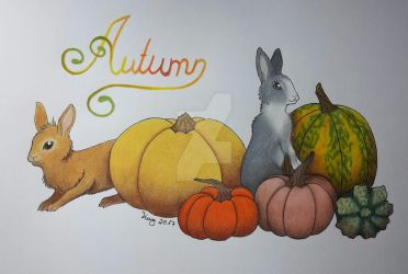 :. Pumpkin Bunnies .: by Wolkengeist