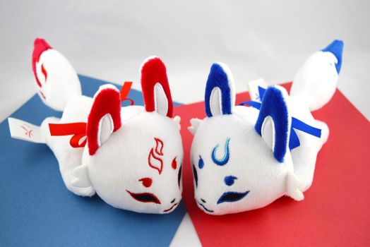 Baby Kabuki Fox Plushies by PlanetPlush