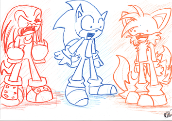 sonic,tails,and knuckles by kafytafy
