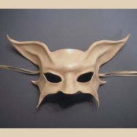 Ghostly Cat Bat Leather Mask by teonova