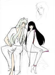Kikyou and Inuyasha Sketch by TheDemonofDesire
