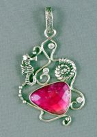 Sea theme silver pendant with pink tourmaline by nataliakhon