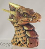 Mini Dragon Bust Sculpture by The-GoblinQueen