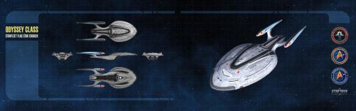 Odyssey Class Starship Dual-Monitor Wallpaper by thomasthecat