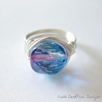 Blue and Pink Wirework Ring by DarkFireRaven