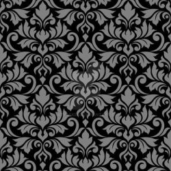 Flourish Damask Ptn Gray on Black by NatPaskell