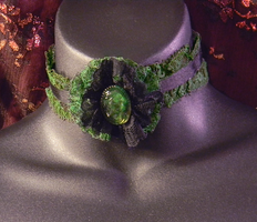 Black and Green Lace and Cameo Choker by MorganCrone