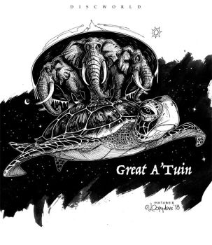 INktober day01: Great A'Tuin by Loopydave