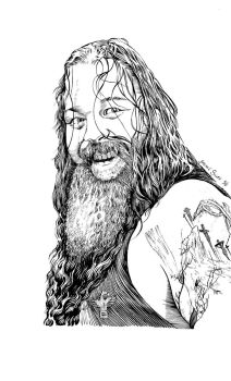Bray Wyatt brush and ink by JosephLSilver