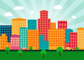 Colorful Flat City Buildings by superawesomevectors