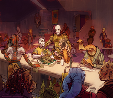 At the Mos Emos Cantina by SpacelingArt