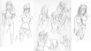 Concept Sketchs - Female Ghost by EzeKeiL