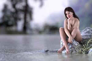 Gina nude on the lake by FranPHolland
