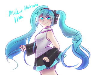 Happy birthday Miku-chan~ by Channydraws