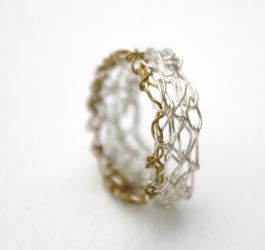 Silver Crochet Band Ring by WrappedbyDesign