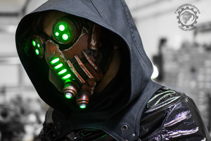 The Petrifier - Demon tech cyberpunk LED mask by TwoHornsUnited