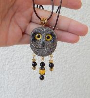 Short-eared owl pendant by koshka741