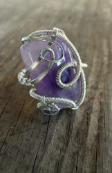 Amethyst wire wrapped handmade ring by Naldor