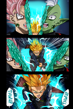 Dragon Ball Super Trunks cuts Zamasu Manga Colored by Amanomoon
