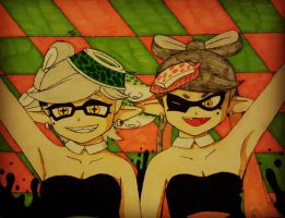 Squid sisters- Callie and Marie by ArMoRlEsSNIPER