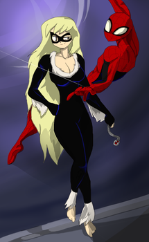 Spider-man and Black Cat by JulieDraw2046