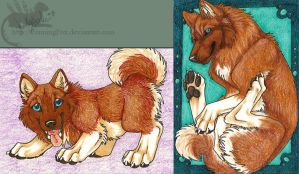 Moonsongwolf ACEOs x2 by Bear-hybrid