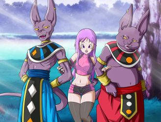 Commission: Beerus, Tenshi and Champa by ChigoSenpai