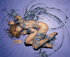 eBas WitchBlade fetal position TRADING card by ebas