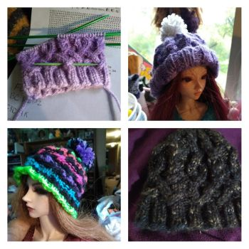 A matter of scale: 3 hats made with the same patte by CrazyLadyDDC