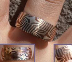 Mokume Gane twin star silver and copper ring by fairyfrog