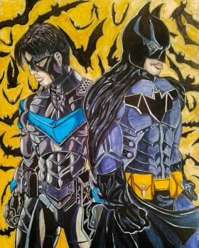 Batman and Nightwing by theClementine17