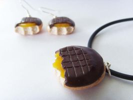 Jaffa Cakes Necklace and Earring Set by tyney123