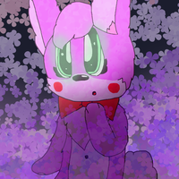 Pink Bunny with Purple Flowers by cjc728