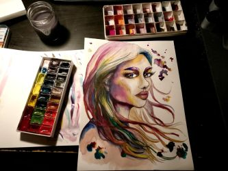 2018-07-11 Aquarell Girl - Watercolor Traditional by AurielPhoenix