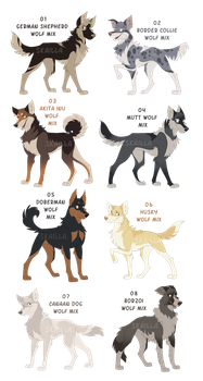 Wolfdog Auction Adoptables! - CLOSED! by Skailla