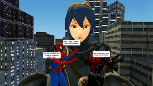 Ant-Man,  Spider-Man , and Lucina : big problem by kongzillarex619