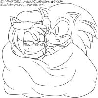 Sonamy Christmas Doodle by EleanorDevil-Sonic