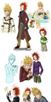 KH2 -- Axel + Roxas sketchdump by lady-obsessed