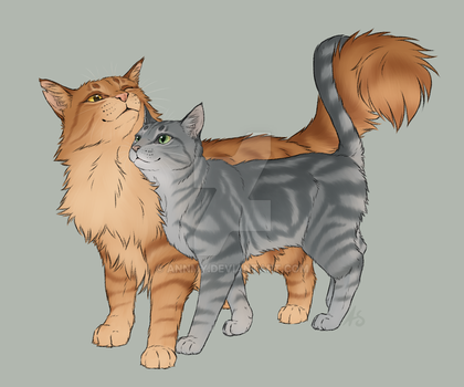 Purebreds - Lionblaze and Cinderheart by AnnMY