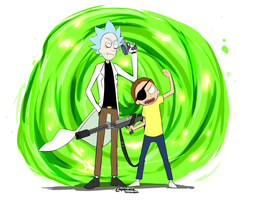 Evil rick and morty by Rika-Wawa