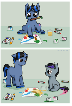 Little Artist and His Brother by kaciekk