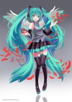 Miku Red Feather by Sartika3091