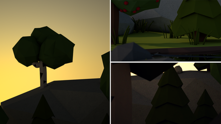 Free Cinema 4D scene - low poly evening by tokfrans