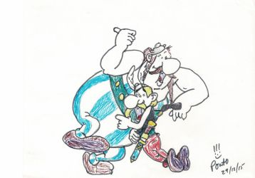 Asterix and Obelix laughing by RichJB