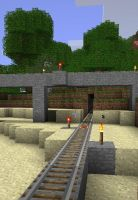 LineRail demo, Minecraft rail by dudecon