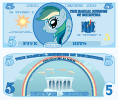 Rainbow Dash 5 bits bill by cradet