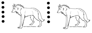 .LineArt. Male-Female Wolf by LindsayPrower