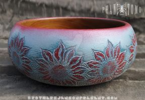 Festive Teak Bowl Custom Carve and Paint @ SoarMKE by Phantomoshop
