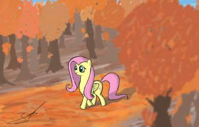 Fluttershy goes for a walk in the forest by DerpyJoel
