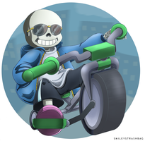 Sans on a Bike by smileystrashbag
